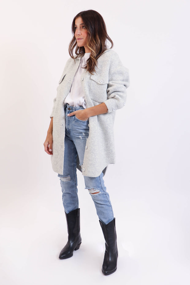 Light Grey Shirt Jacket