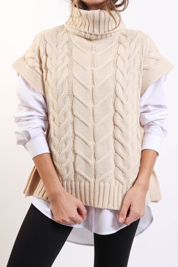 Beige Turtleneck Sweater Vest
