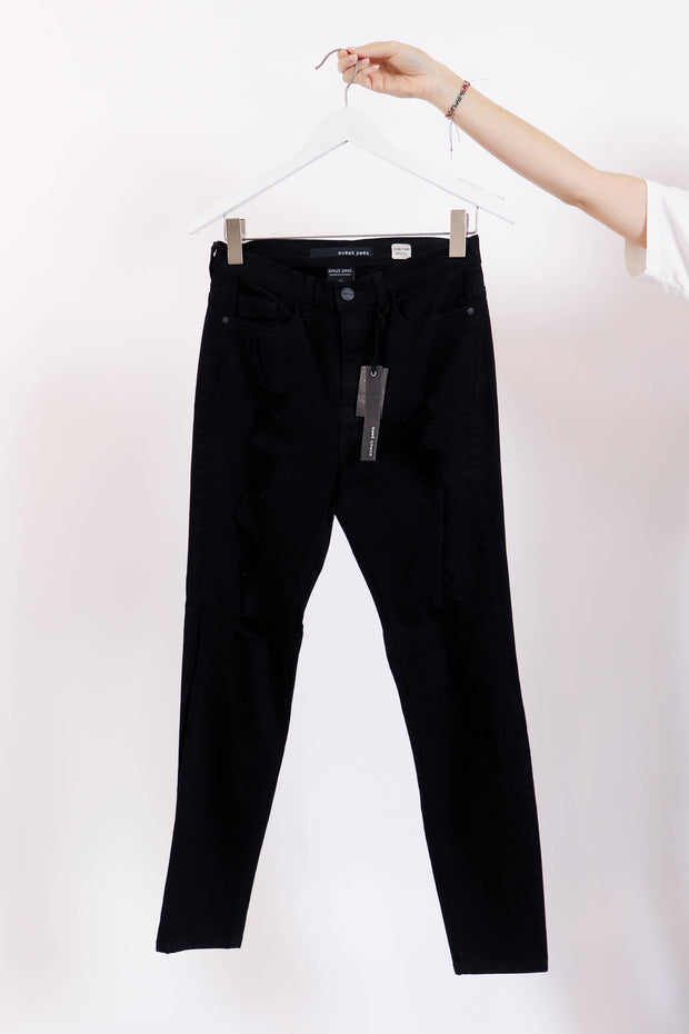 High-Rise Skinny Distressed Black Denim