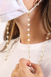Hila White Pearl Glasses Mask Chain
