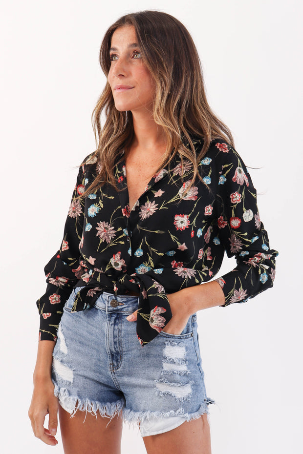 Black Floral Button Down Blouse