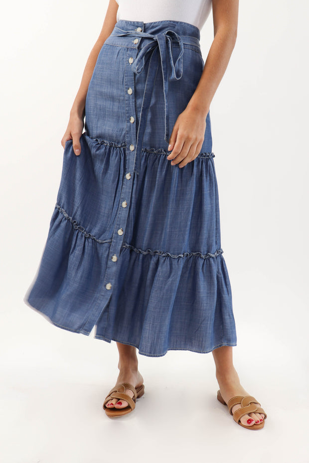 Tiered Denim Skirt
