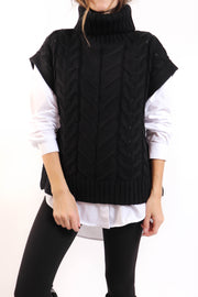 Black Turtleneck Sweater Vest