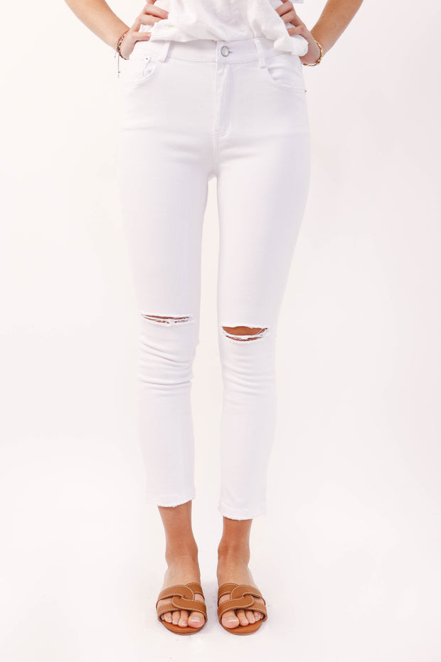 White Skinny Jean with Knee Distressing