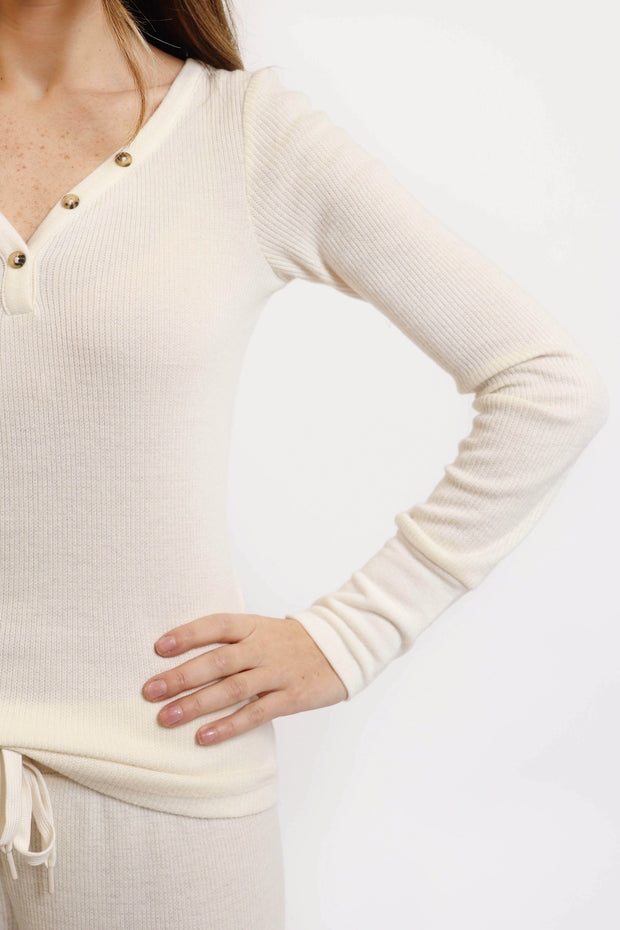 Soft Cream Ribbed Henley Top