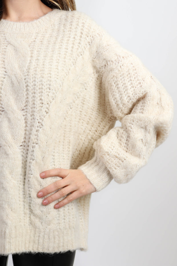 Cream Oversized Knit Sweater