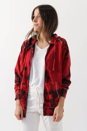 Red Tie Dye Zip-Up Hoodie