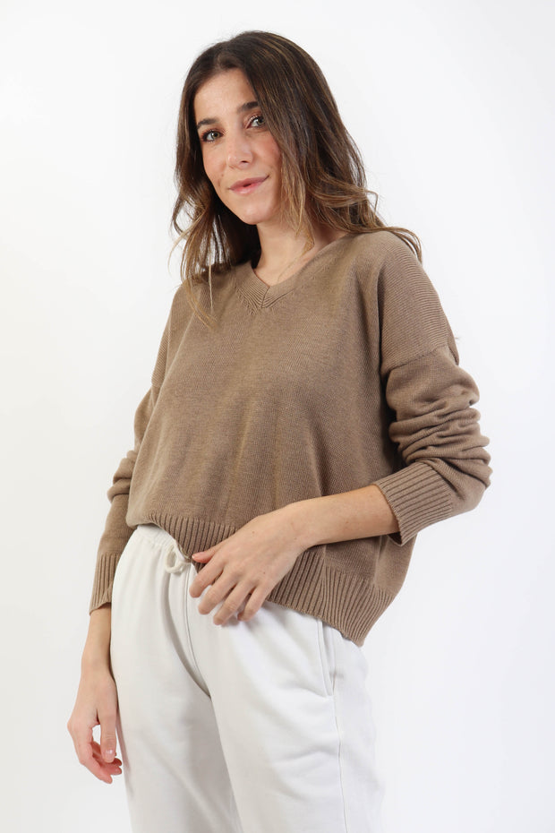 Beige Classic Knit V-Neck Sweater
