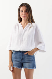 Button Down Gauze Blouse