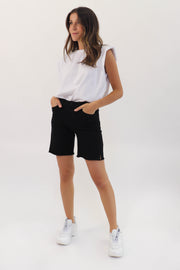 Black Frayed Bermuda Short
