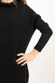 Black Ottoman Ribbed Knit Sweater