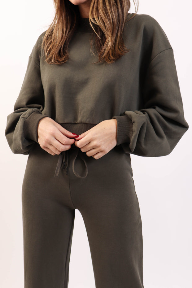 Olive Wide Leg Sweat Set