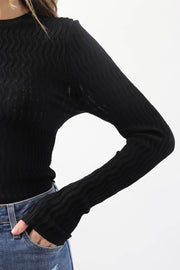 Wave Textured Long Sleeve