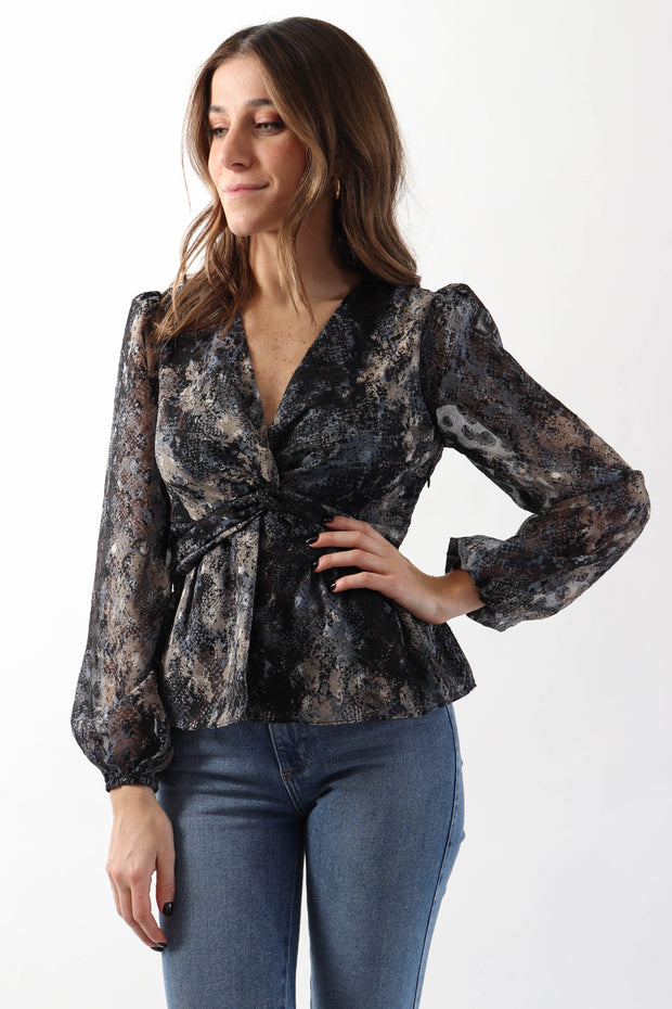 Painted Twist Front Blouse