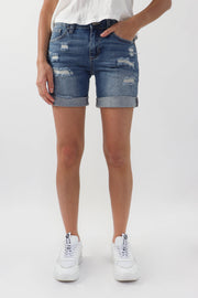 Destroyed Denim Cycling Short