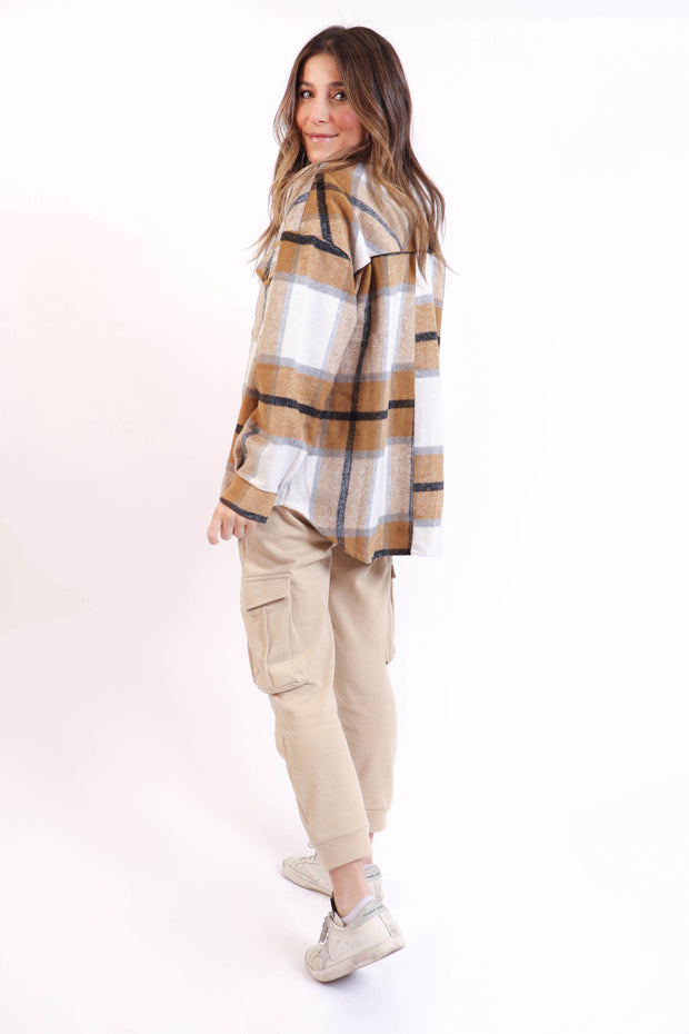 Camel Plaid Shirt Jacket