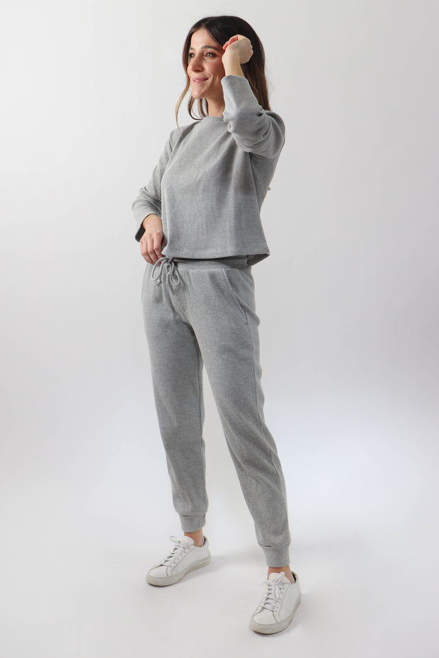 Heather Grey Waffle Lounge Set