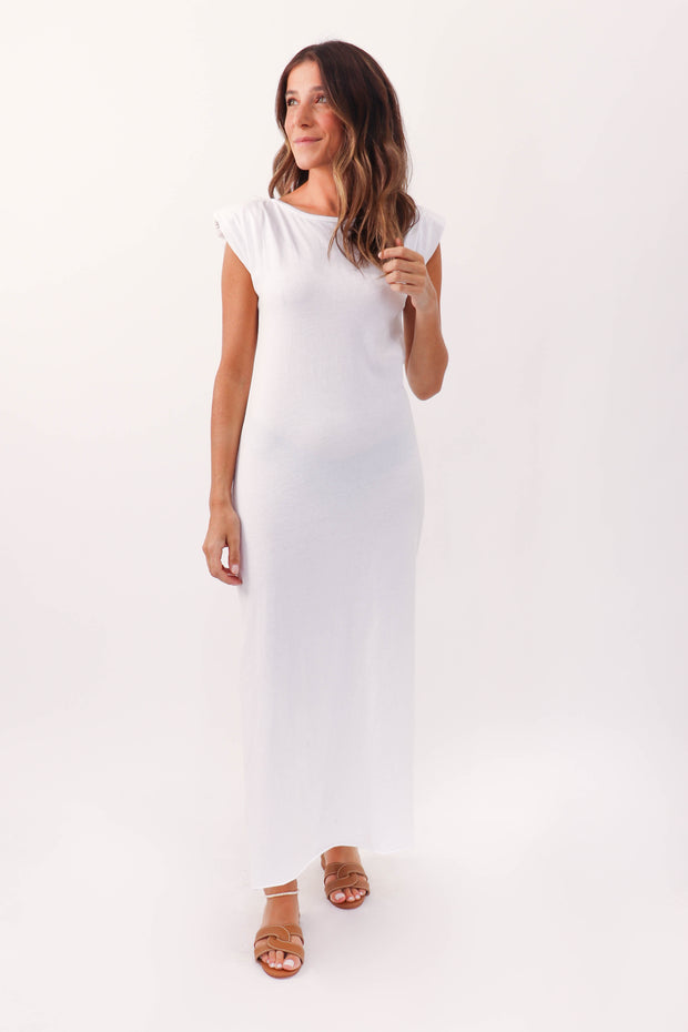 Solid Sleeveless Shoulder Pad Maxi Dress