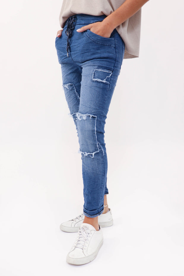 Distressed Denim Crinkle Jogger