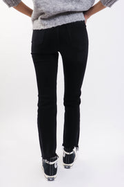 High Rise Straight Washed Black Jean