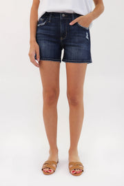 Grinded Edge Denim Shorts