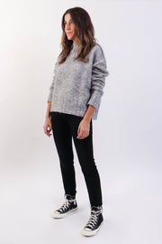 Grey Knit Mockneck Sweater