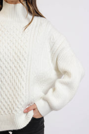 Ivory Cable Knit Turtleneck