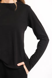 Black Organic Jersey Crew Long Sleeve