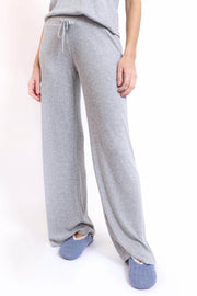 Soft Grey Ribbed Wide Leg Pant