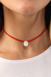 Red Oval Coin Pearl Choker