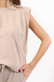 Rose Taupe Padded Shoulder Tank