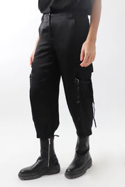 Satin Cropped Cargo Pants