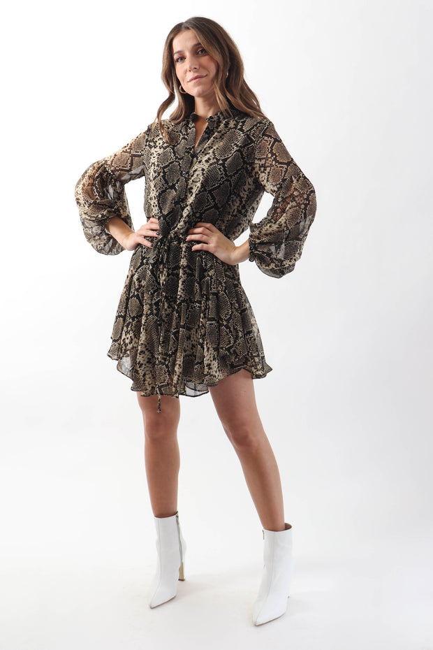 Snake Print Half-Button Dress