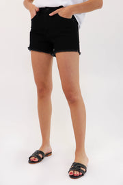 High-Rise Frayed Denim Short