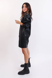 Vegan Leather Shirt Dress