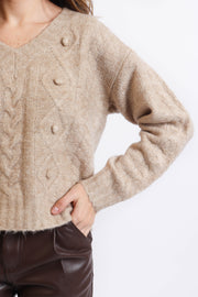 Oatmeal Knit V-Neck