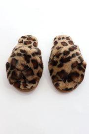Faux Fur Leopard Slippers