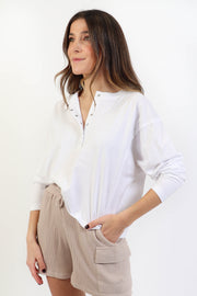 White Henley Top