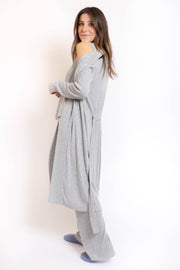 Soft Grey Ribbed Robe