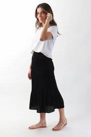 Black Smocked Skirt