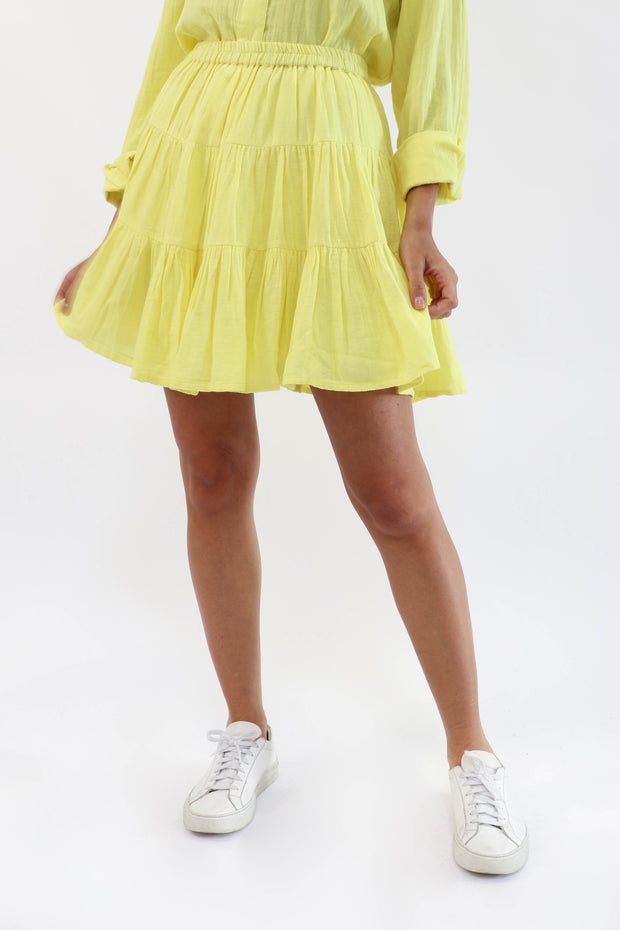 Yellow Tiered Gauze Skirt