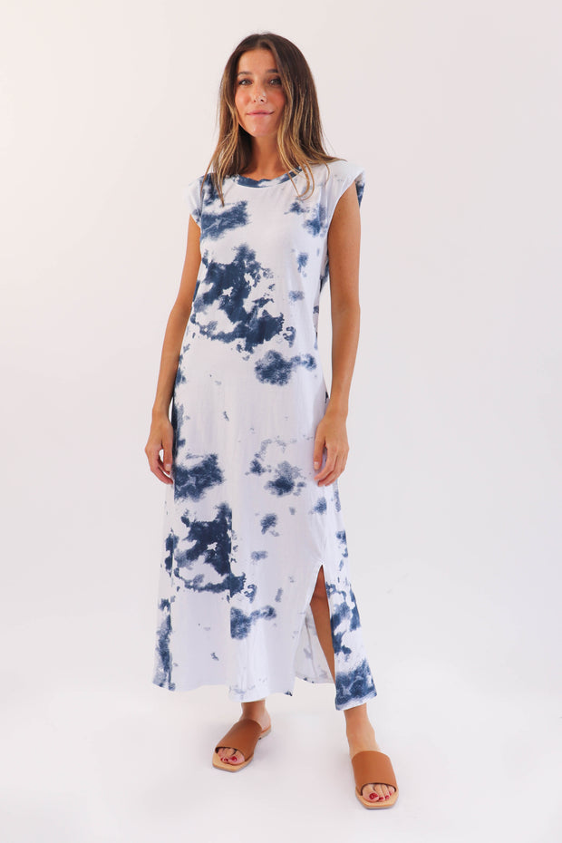 Padded Shoulder Tie Dye Dress