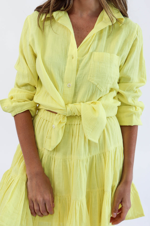 Yellow Gauze Button Down