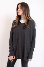 Charcoal Soft Basic V-Neck