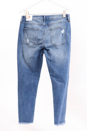 High-Rise Cropped Destroyed Medium Denim