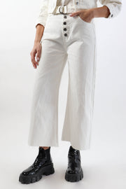 Wide Leg White Denim