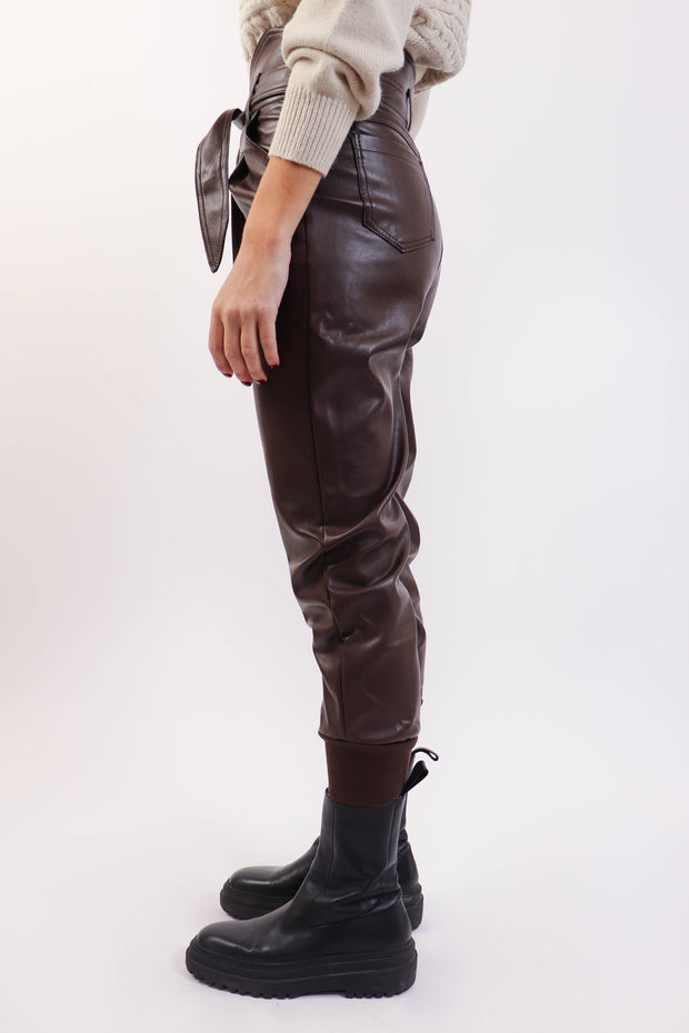 Chocolate Brown Paperbag Pleather Pant