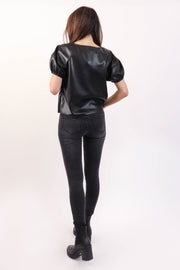 Soft Vegan Leather Puff Shoulder Tee