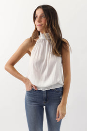 Sleeveless White Blouse