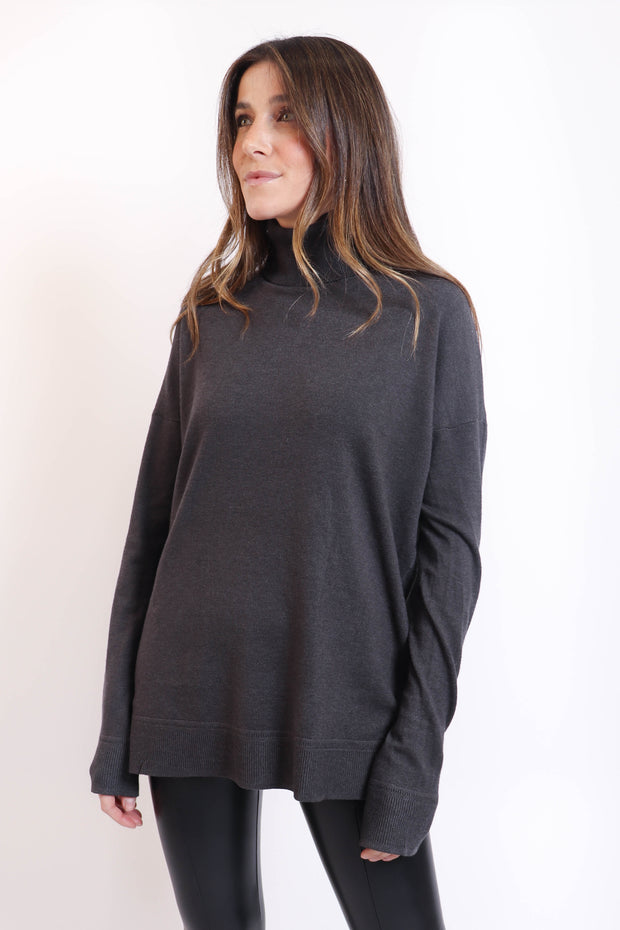 Charcoal Soft Basic Turtleneck Sweater